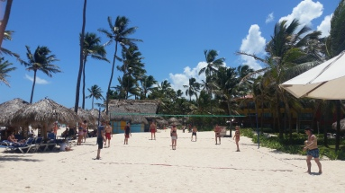 Beach volleyball oragnized by the resort