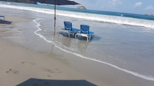 As tide was going out, chairs were set up